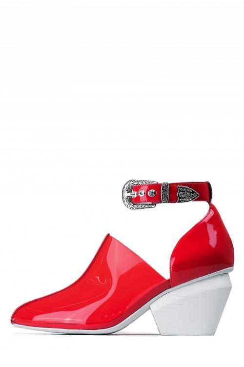 Jeffrey Campbell boots vinyle rouge boucle western