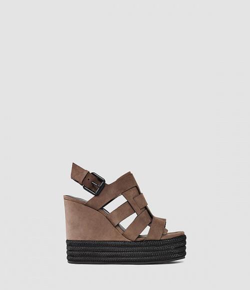 All Saints sandales compensées marron et noires