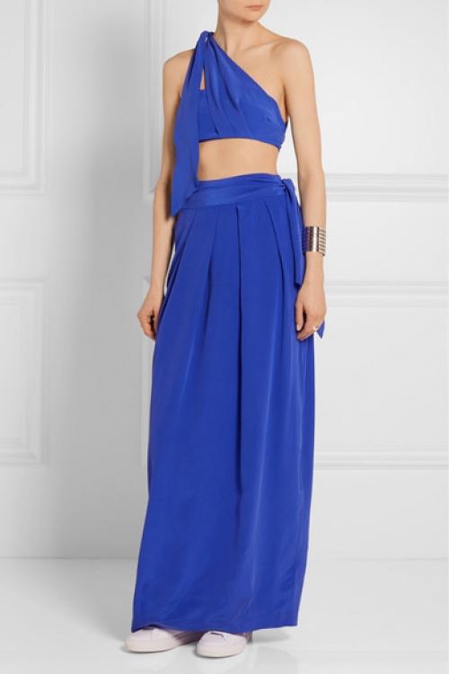 Paper London jupe longue bleu voile