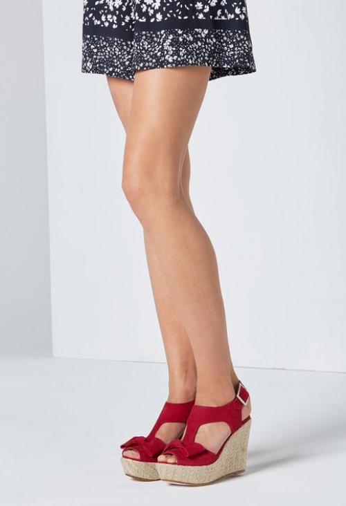 Claudie Pierlot sandales compensées noeuds rouge