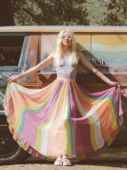Free People jupe longue multicolor
