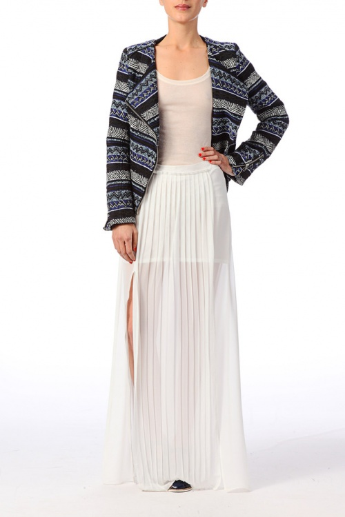 Best Mountain  jupe longue fendue blanche plissée