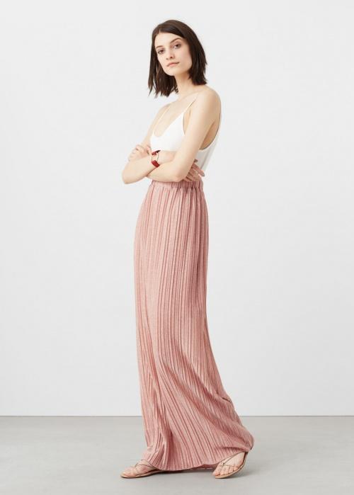 Mango jupe longue plisée rose pale