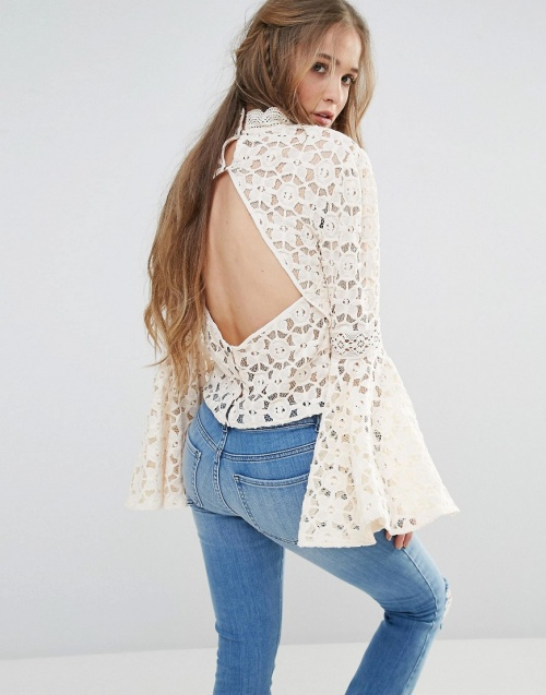Free People - Top dentelle manches larges