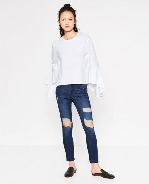 Zara - Top blanc manche cloches volantées