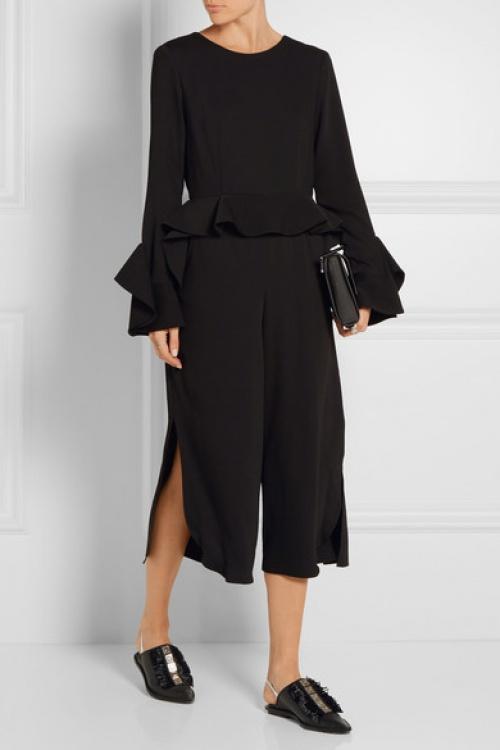 Goen J - Combinaison jupe-culotte noire volant