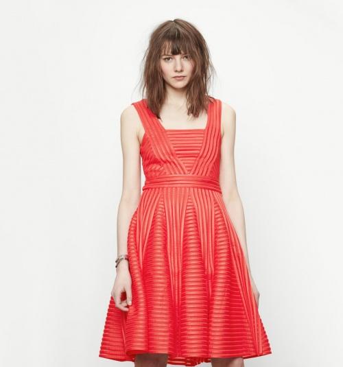 Maje - Robe robe rouge corolle airtex