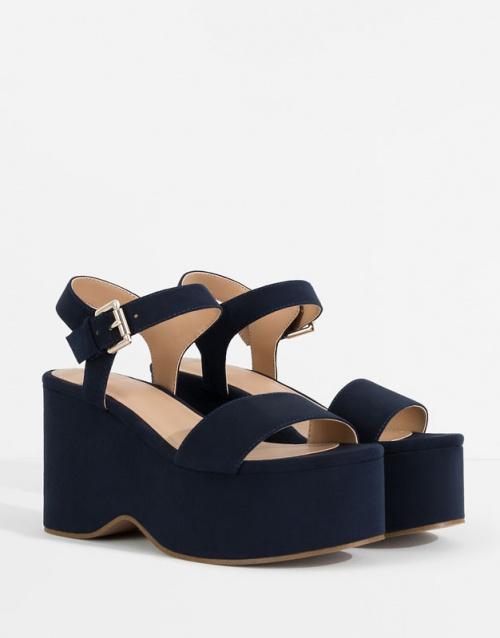 Pull&Bear sandales bleues plateforme
