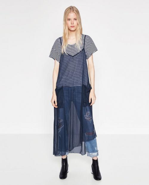 Zara - Robe fine bleue transparente poches