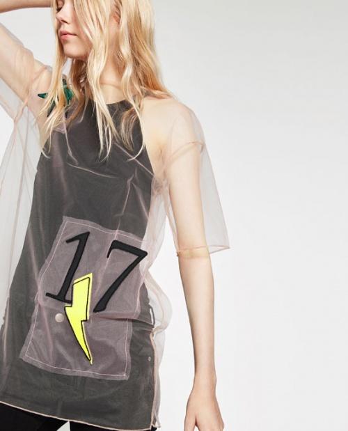 Zara - T-shirt transparent tulle large patchs