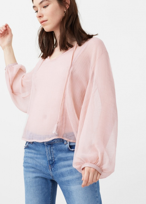 Mango top blouse rose transparent
