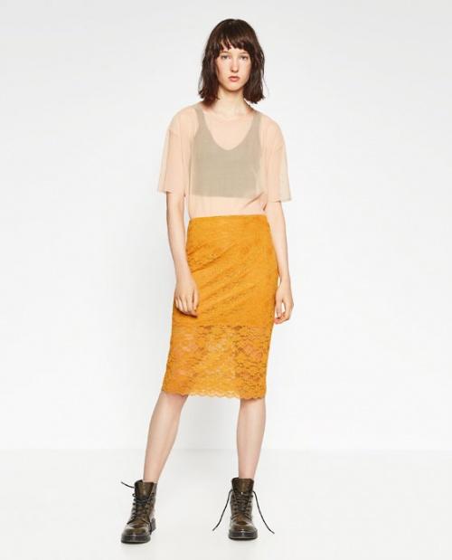 Zara  jupe fourreau dentelle jaune