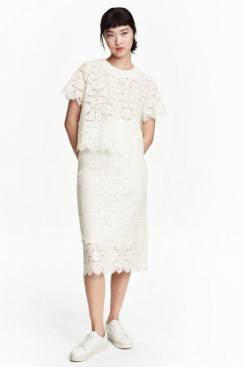 H&M jupe longue dentelle moulante blanche