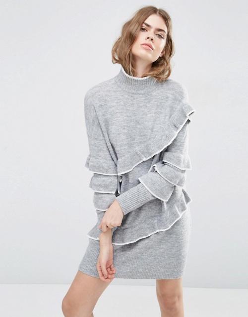 Asos - Robe pull grise volants