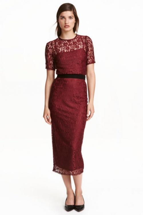 H&M jupe longue bordeaux dentelle