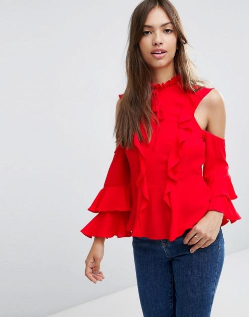 Asos - Top rouge épaules dénudées