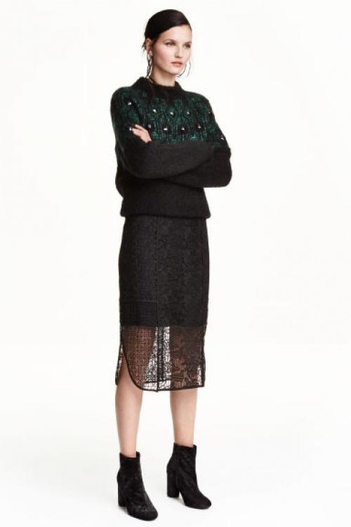 H&M jupe structuré dentelle