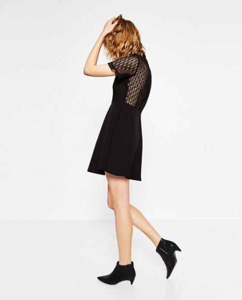 Zara - Robe dentelle empiècements noirs