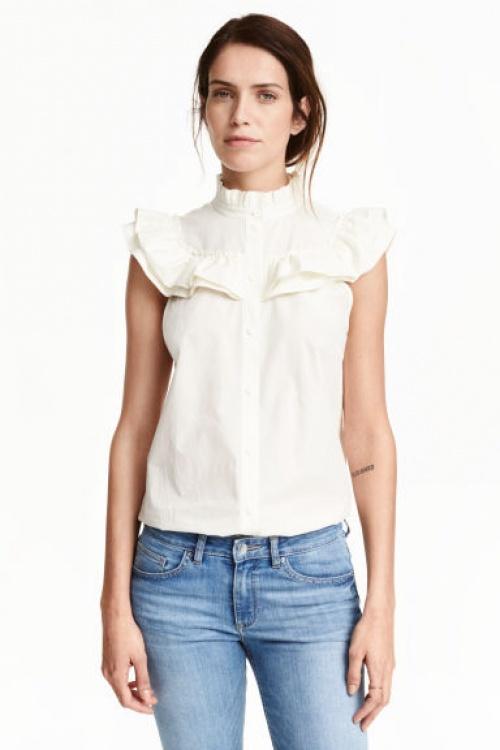 H&M - Top chemisette volant col