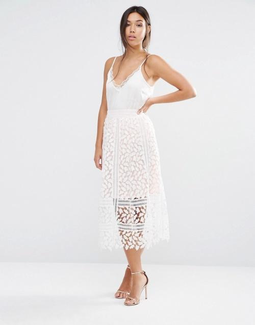 Boohoo  jupe dentelle blanche ajourée