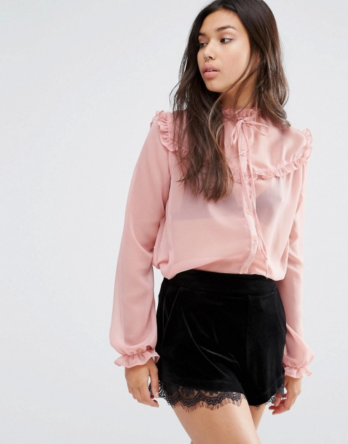 Motel  top rose transparent col volants