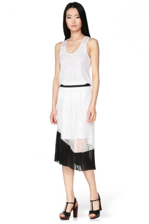 Brigitte Bardot jupe dentelle midi plissée
