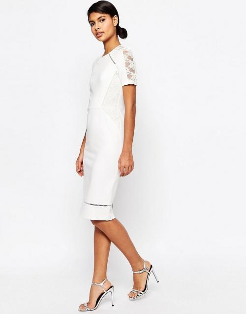 Asos - Robe blanche empiècement dentelle taille et épaules