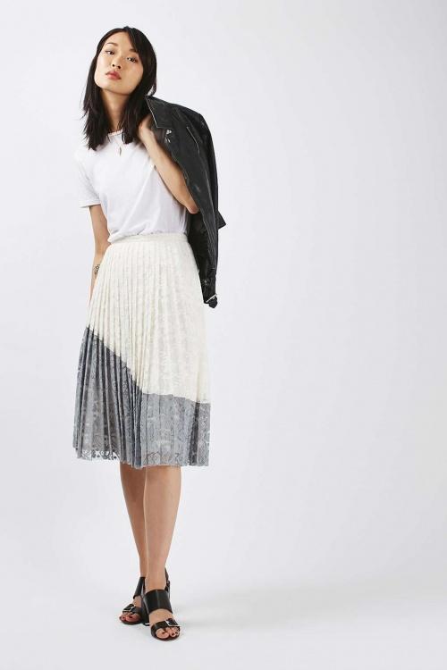 Topshop jupe plissée midi dentelle