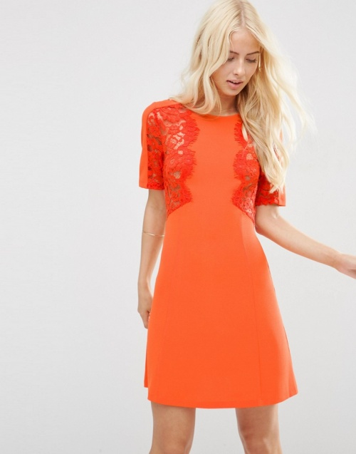 Asos - Robe orange empiècement dentelle