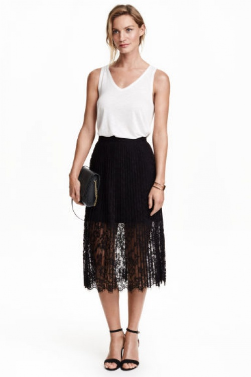 H&M  jupe dentelle plissée