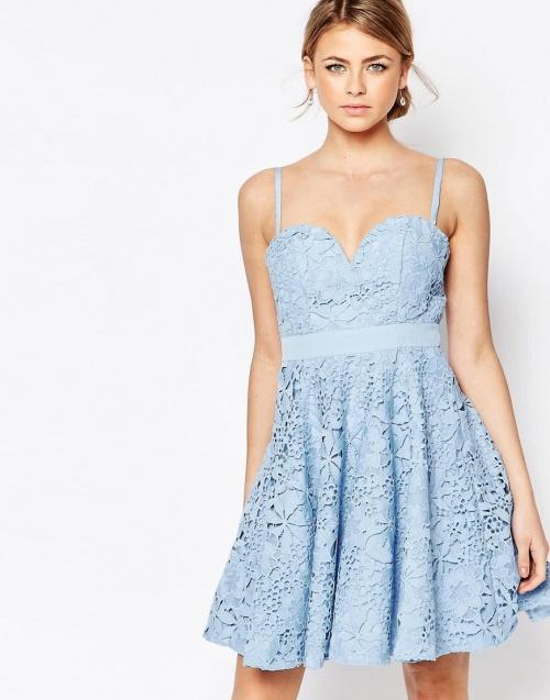 Forever Unique  robe bleue patineuse motif fleurs