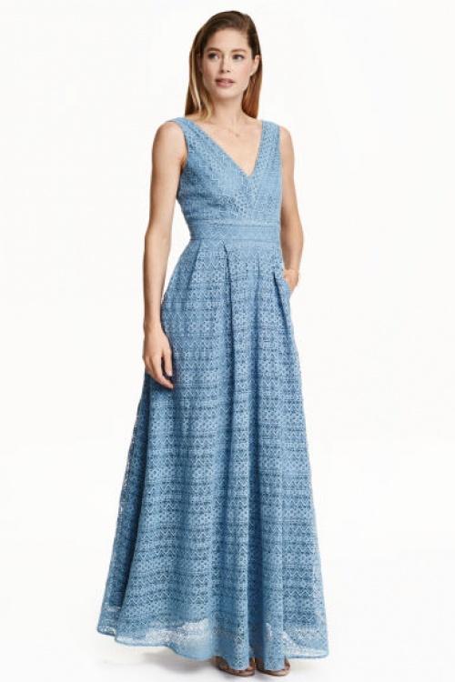 H&M robe longue dentelle bleue