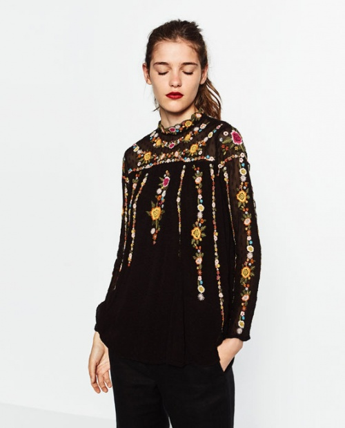 Zara top brodé plumetis