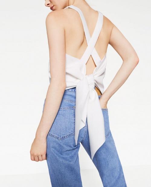 Zara top blanc dos croisé et noué