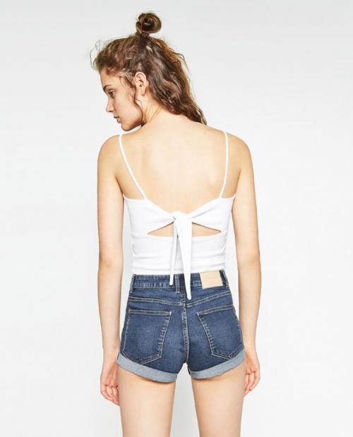 Zara - Top blanc dos à nouer