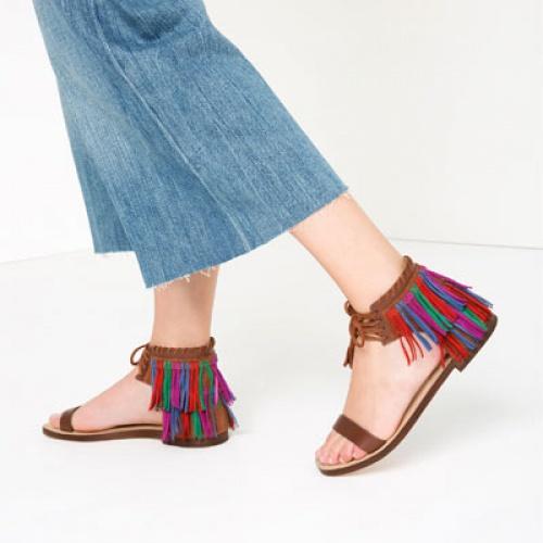 Zara sandales franges talons