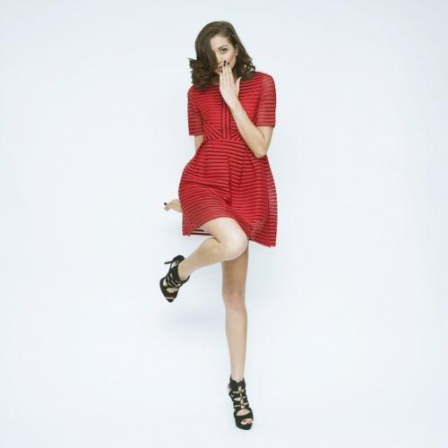 Les petites Chaudières - Robe courte rouge airtex patineuse
