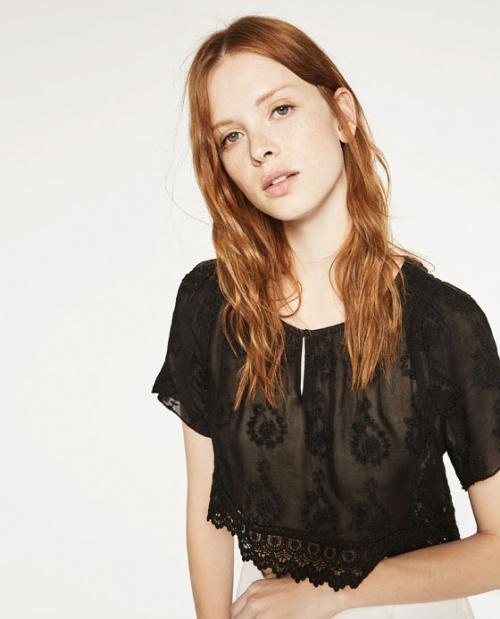 Zara top noir transparent brodé