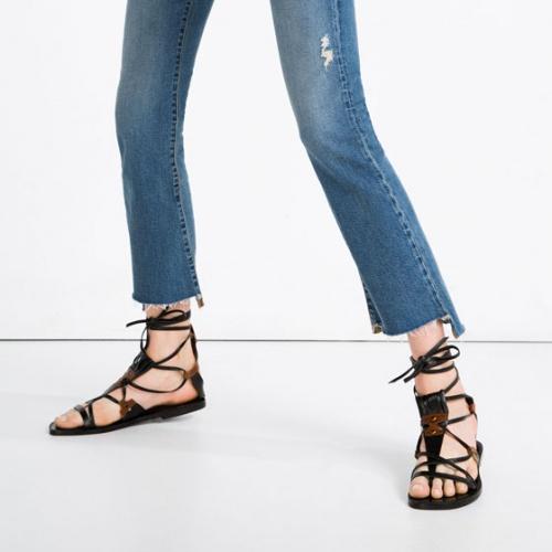 Zara sandales plage tong marrons et noires