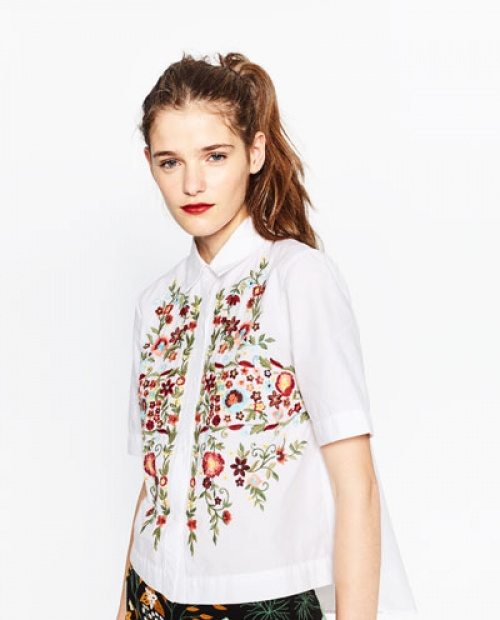 Zara chemisette brodée blanche fleurs