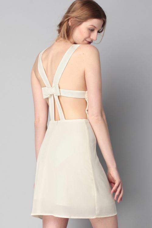 Pepaloves - Robe beige écrue dos noeud
