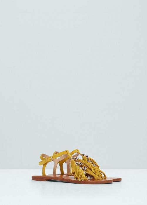 Mango sandales franges jaunes et pompons