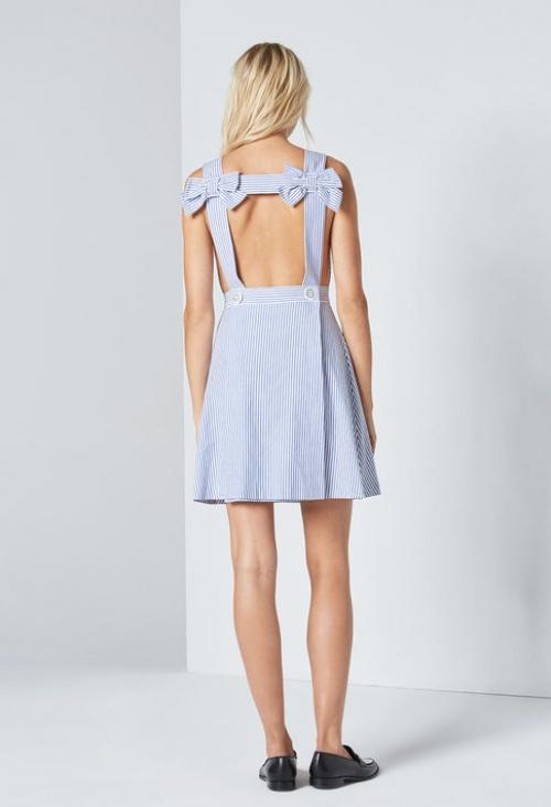 Claudie Pierlot - Robe rayée bleue et blanche noeud épaules