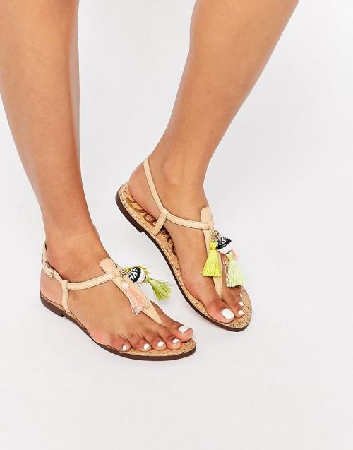 Sam Edelman sandales pompons et franges cuir