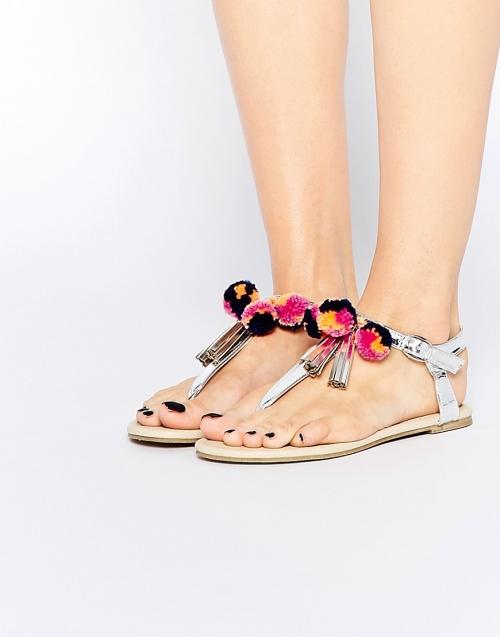 Asos sandales argenté double pompon
