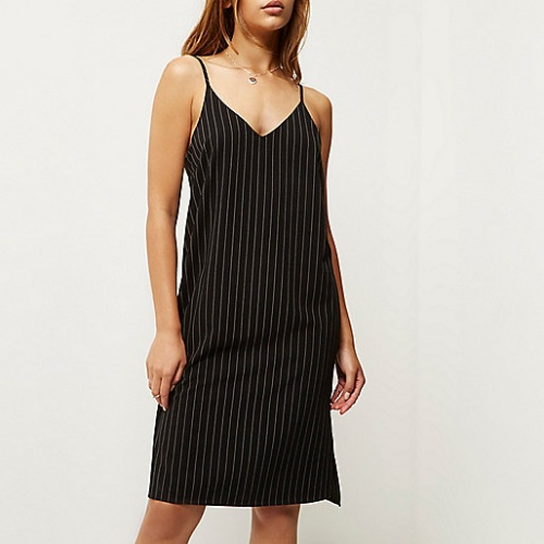 River Island - Robe nuisette rayures fines