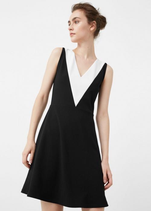 Mango robe noir et blanche décolleté V