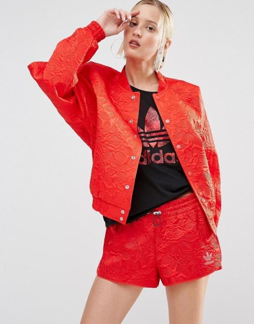 Adidas Originals - Bomber rouge non tissé