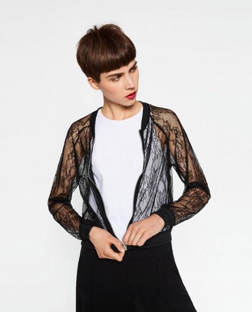 Zara - Bomber dentelle transparentre