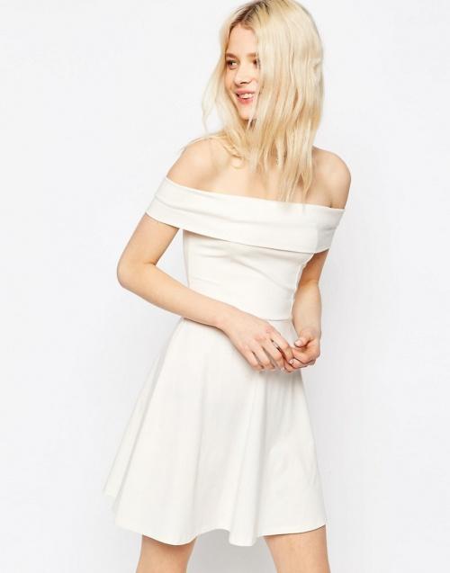 Asos robe patineuse col bardot blanche